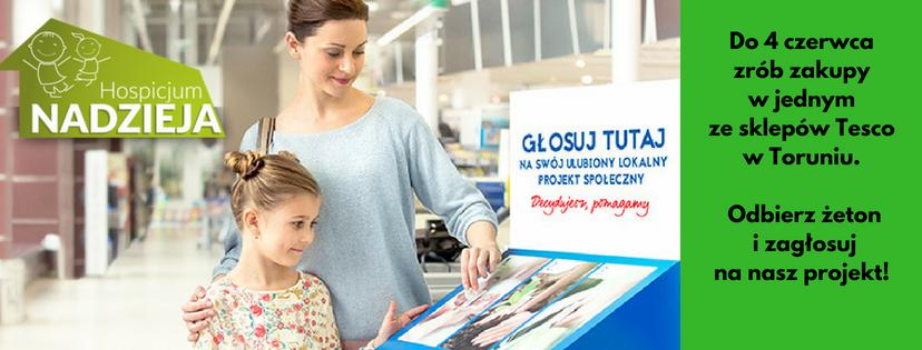 Do 4 czerwca zrób zakupy w jednym ze sklepów Tesco w Toruniu, odbierz żeton i zagłosuj na nasz projekt!
